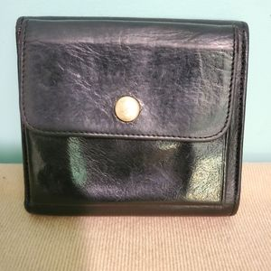 Vtg COACH Women's Black Leather Bifold Wallet